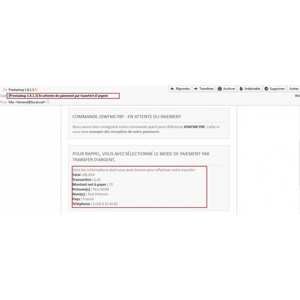 module - Autres moyens de paiement - Paiement par transfert d'argent - 13