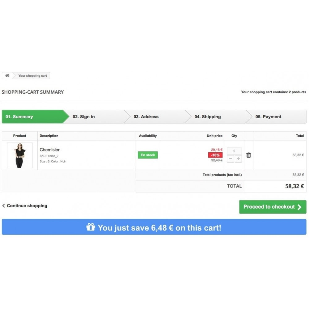 module - Cadastro e Processo de Pedido - Display the savings to your customers in shopping cart - 3
