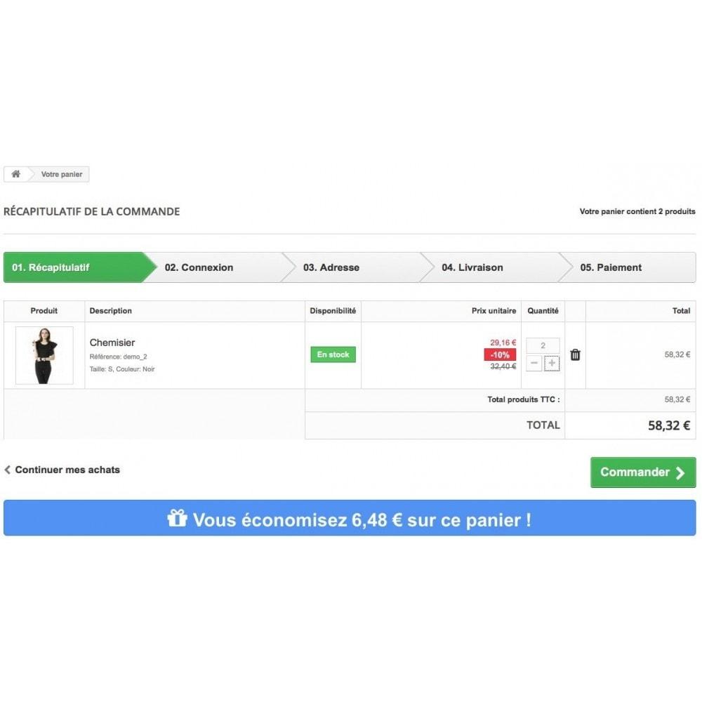 module - Inscription & Processus de commande - Affichez l'économie réalisée sur le panier du client - 4