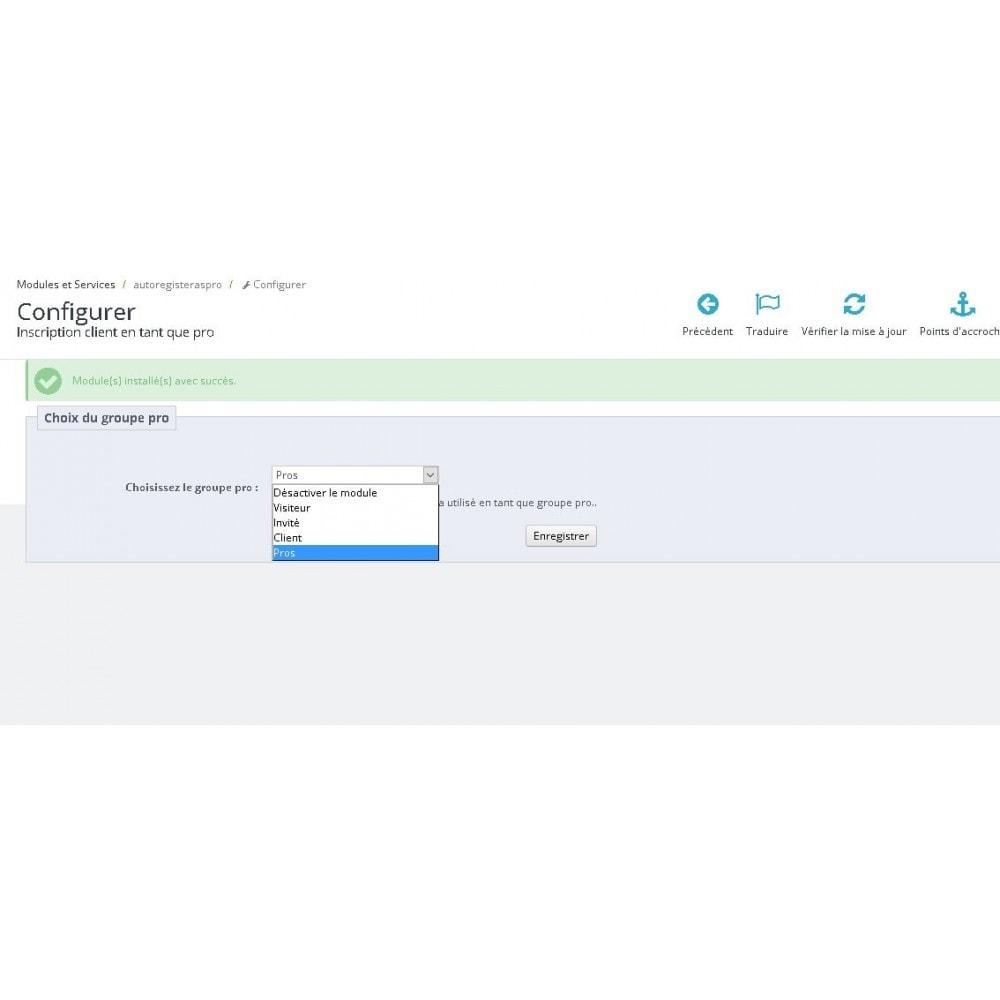 module - Gestion des clients - Inscription client en tant que pro - 1