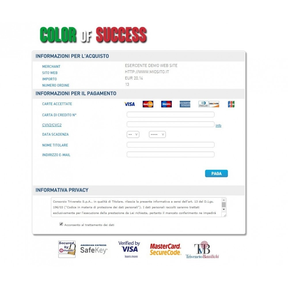 module - Payment by Card or Wallet - Consorzio Triveneto payment gateway - TVB - Advanced - 3
