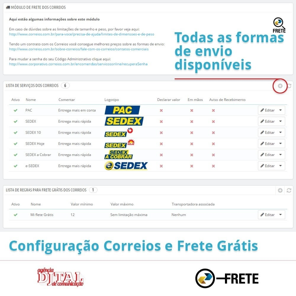 module - Transporteurs - Shipping cost calculation by the Brazilian Correios - 2