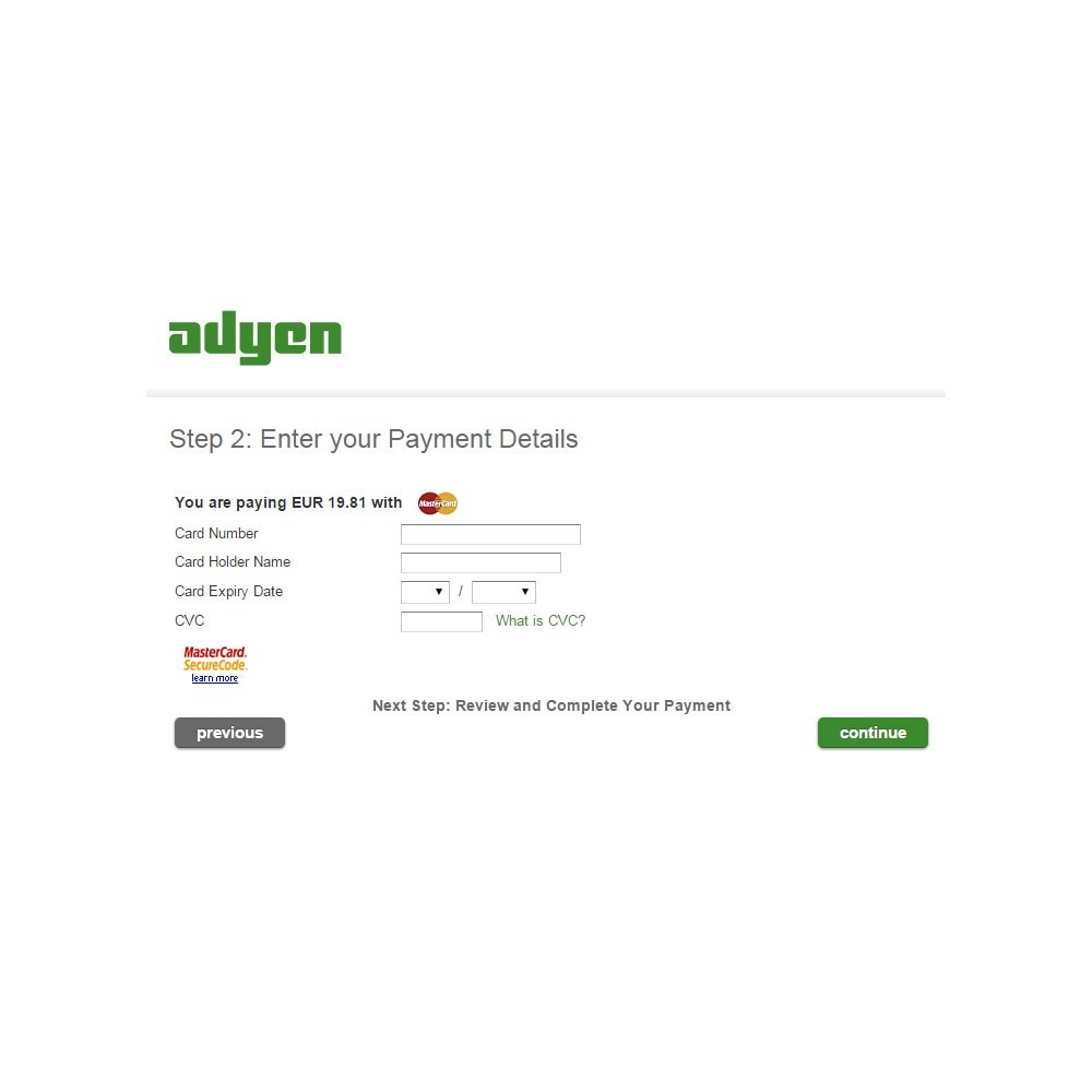 module - Pagamento por cartão ou por carteira - Adyen Payment - 5