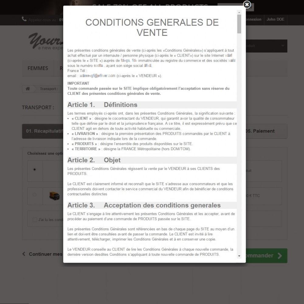 module - Législation (Loi Hamon) - CGV et Mentions légales Loi Hamon - Conditions générales de vente - 4