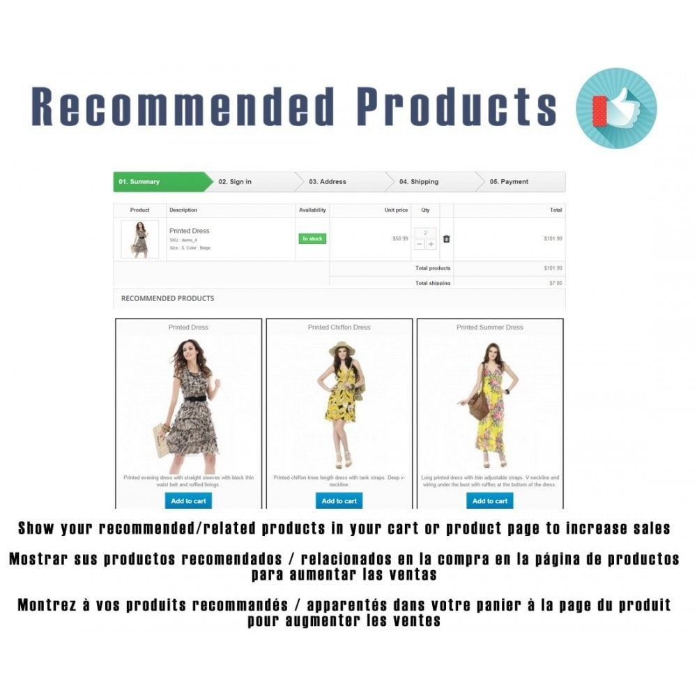 module - Ventas cruzadas y Packs de productos - Recommended products / Related products by ID - 1