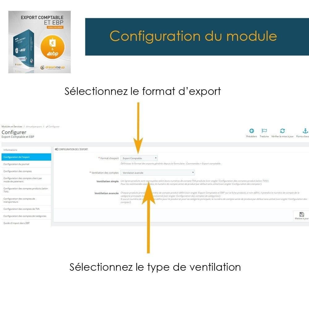 module - Connexion à un logiciel tiers (CRM, ERP...) - DMU Export Comptable et EBP - 6