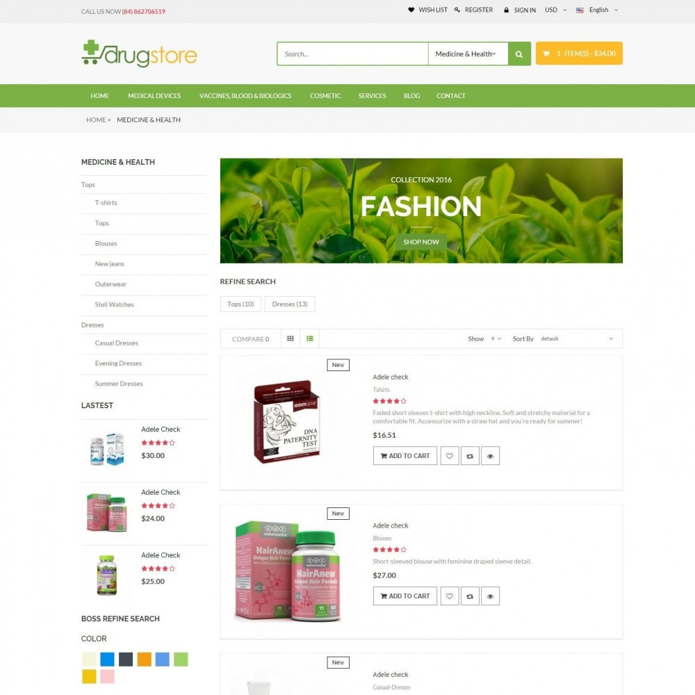theme - Здоровье и красота - Vitamins, Skin Care, Health - DrugStore Responsive - 4