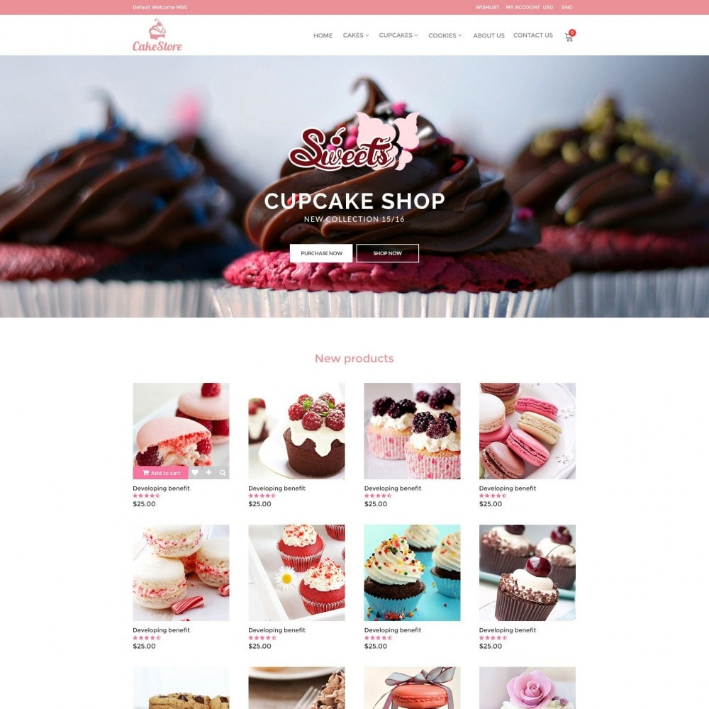 Bakery, Food & Drinks - CakeStore Responsive