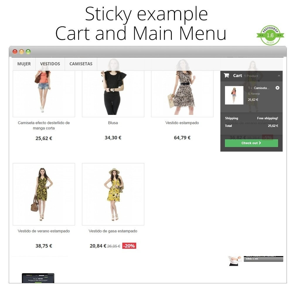 module - Page Customization - Add Sticky elements Cart, Menu, Product, Filters - 5
