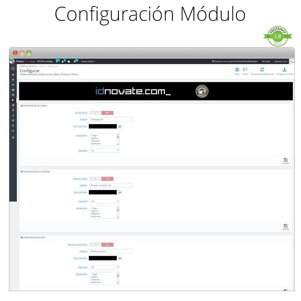 module - Personalización de la página - Haz flotante (sticky) la Cabecera, Carrito, Menú - 2