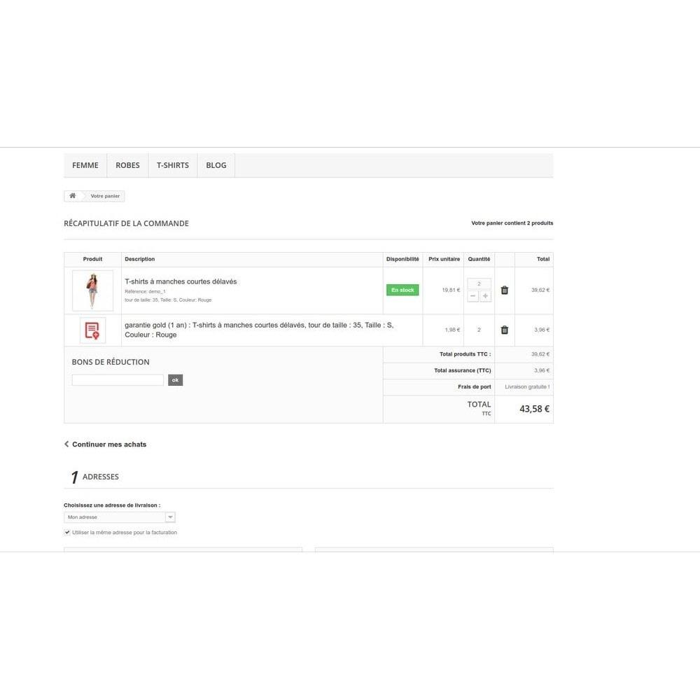module - Ventes croisées & Packs de produits - Insurance - Assurance Produit et Transporteur - 13