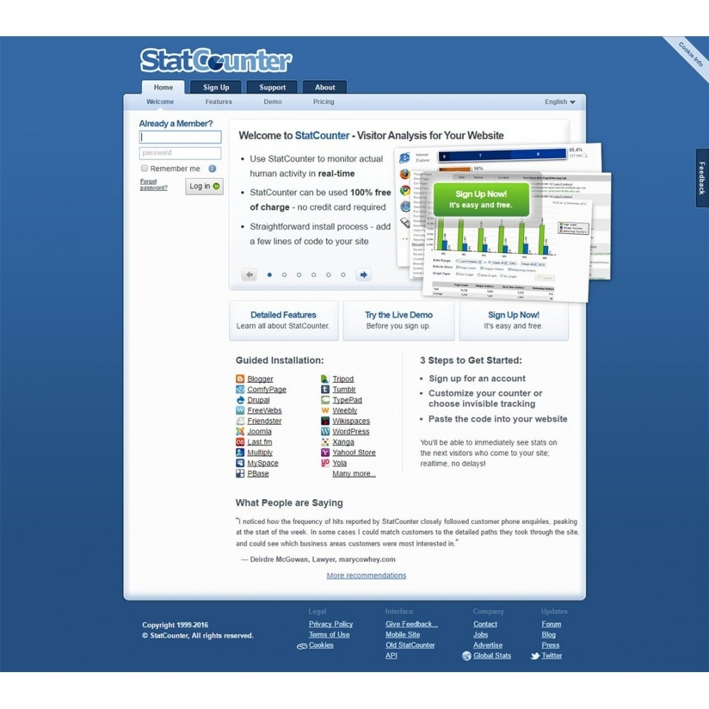 module - Analyses & Statistiques - StatCounter - Web traffic analysis tool - 1