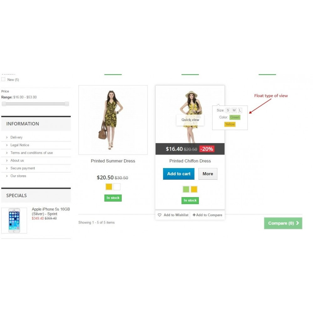 module - Déclinaisons & Personnalisation de produits - Show combinations / Hover product list attributes - 6