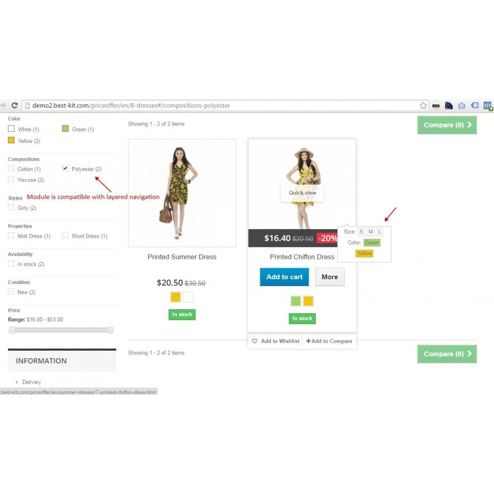 module - Déclinaisons & Personnalisation de produits - Show combinations / Hover product list attributes - 7