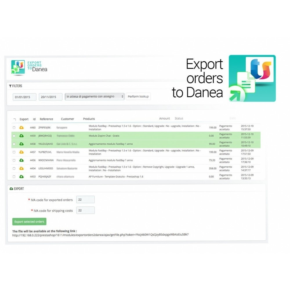 module - Data Integraties (CRM, ERP...) - Export orders to Danea EasyFatt - 2