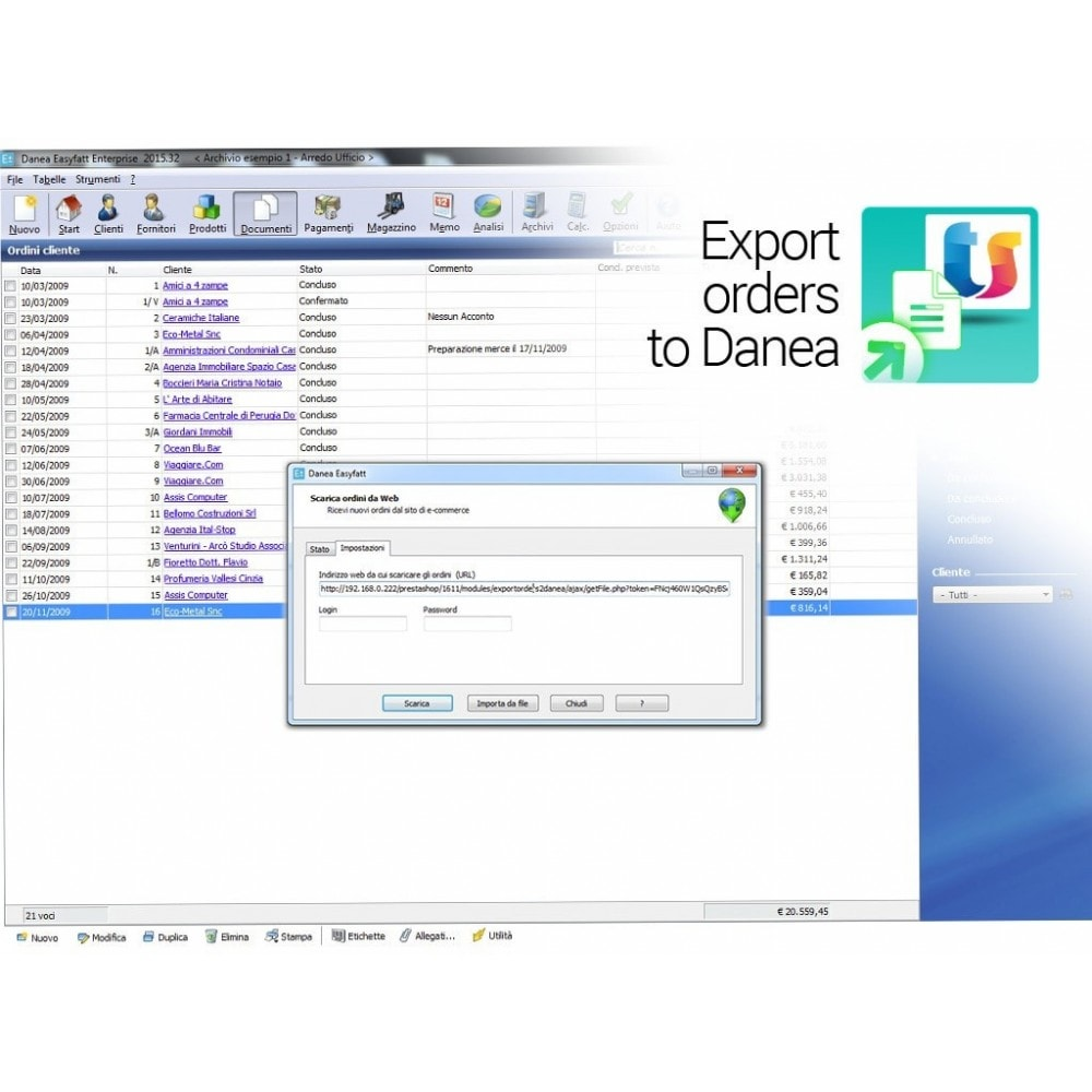 module - Third-party Data Integration (CRM, ERP...) - Export orders and clients to Danea EasyFatt - 3