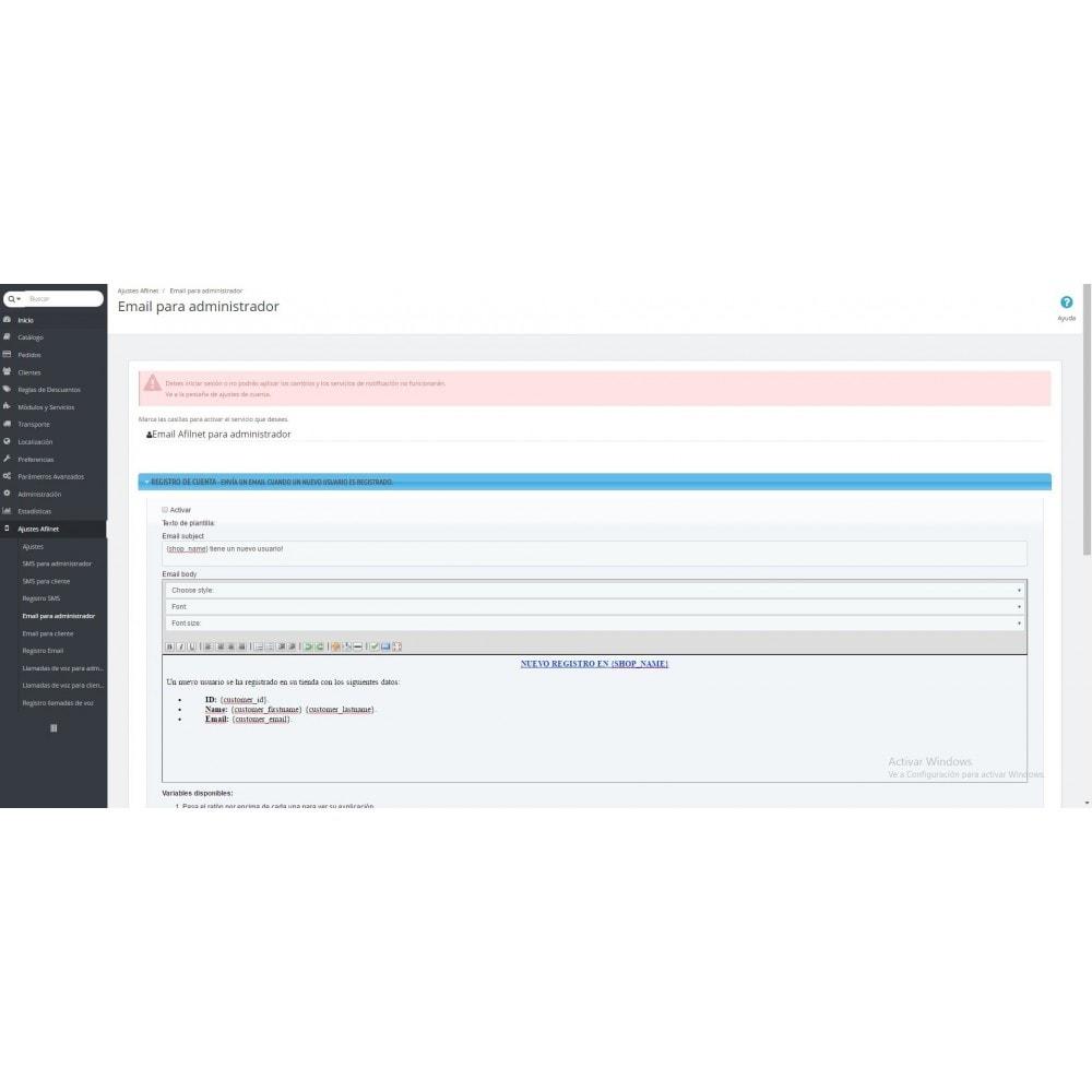 module - E-mails y Notificaciones - Alertas / Notificaciones SMS, email y voz - Afilnet - 5