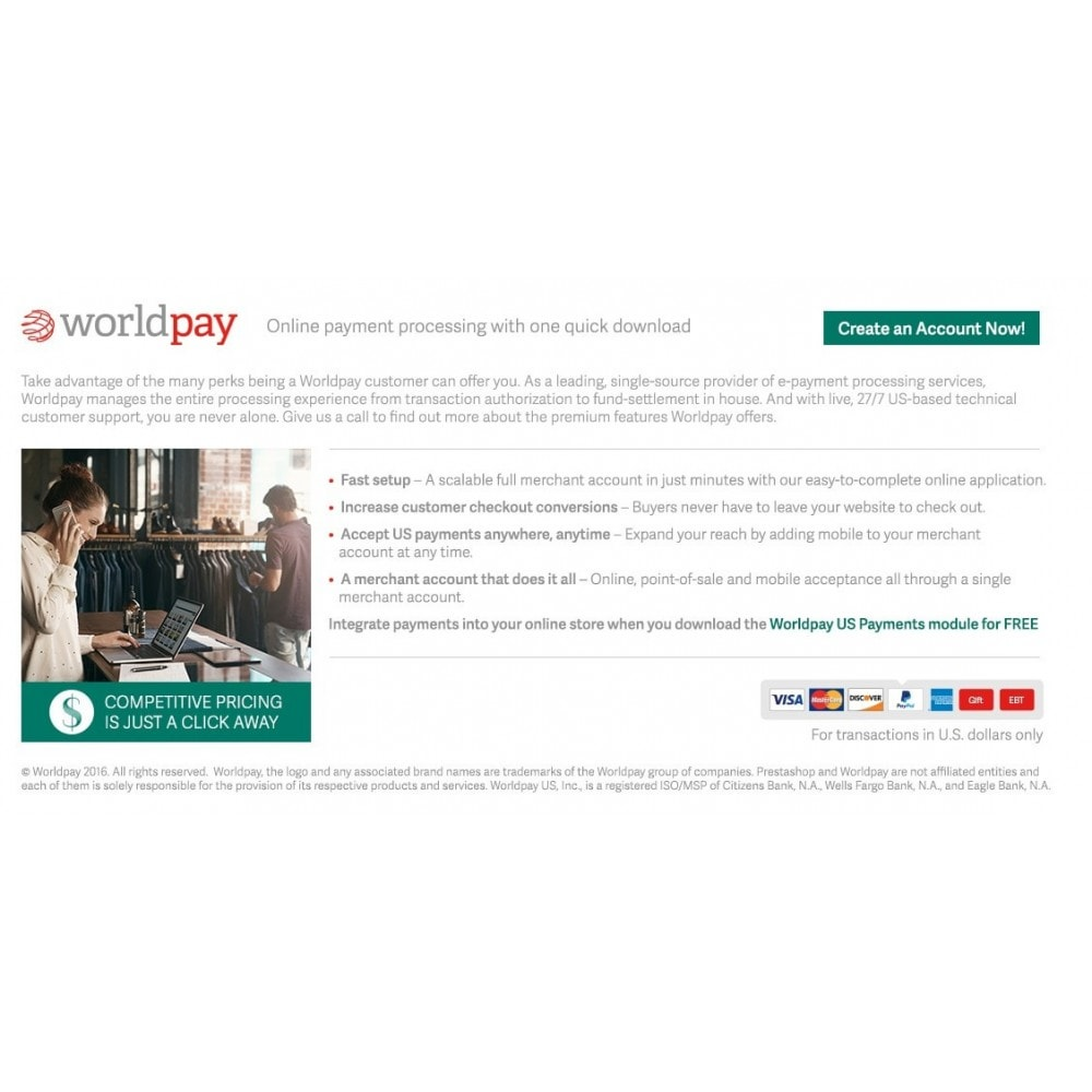 module - Paiement par Carte ou Wallet - Worldpay US Payments - 1