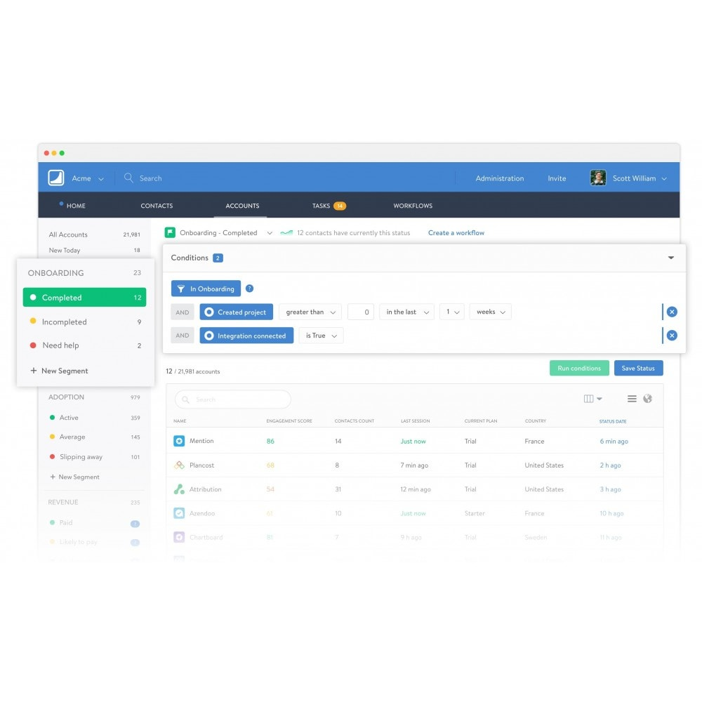 module - Analysen & Statistiken - Salesmachine.io - Realtime Customer Scoring - 2