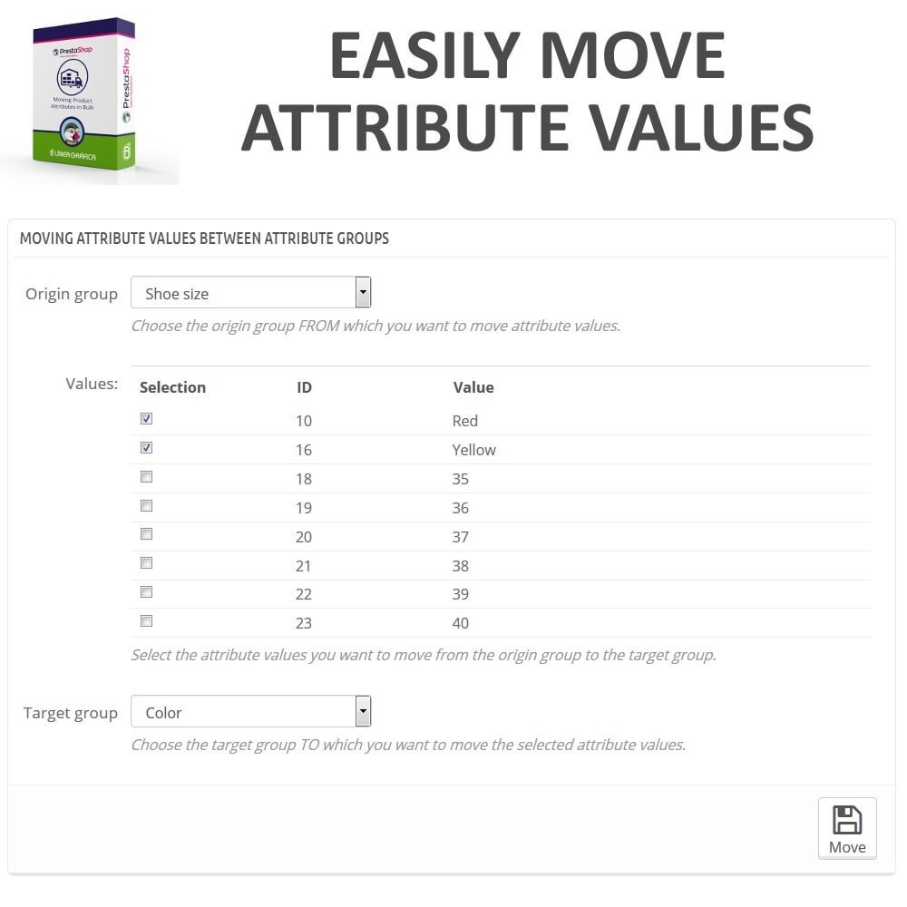 module - Fast & Mass Update - Moving Attribute Values Between Attribute Groups - 2