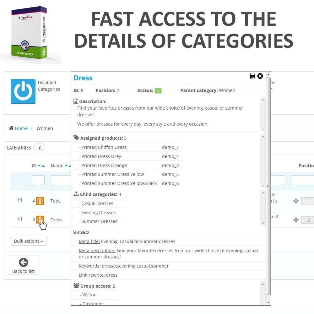 module - Modifica rapida & di massa - Fast Access to Category Details - Quick View / Overview - 1