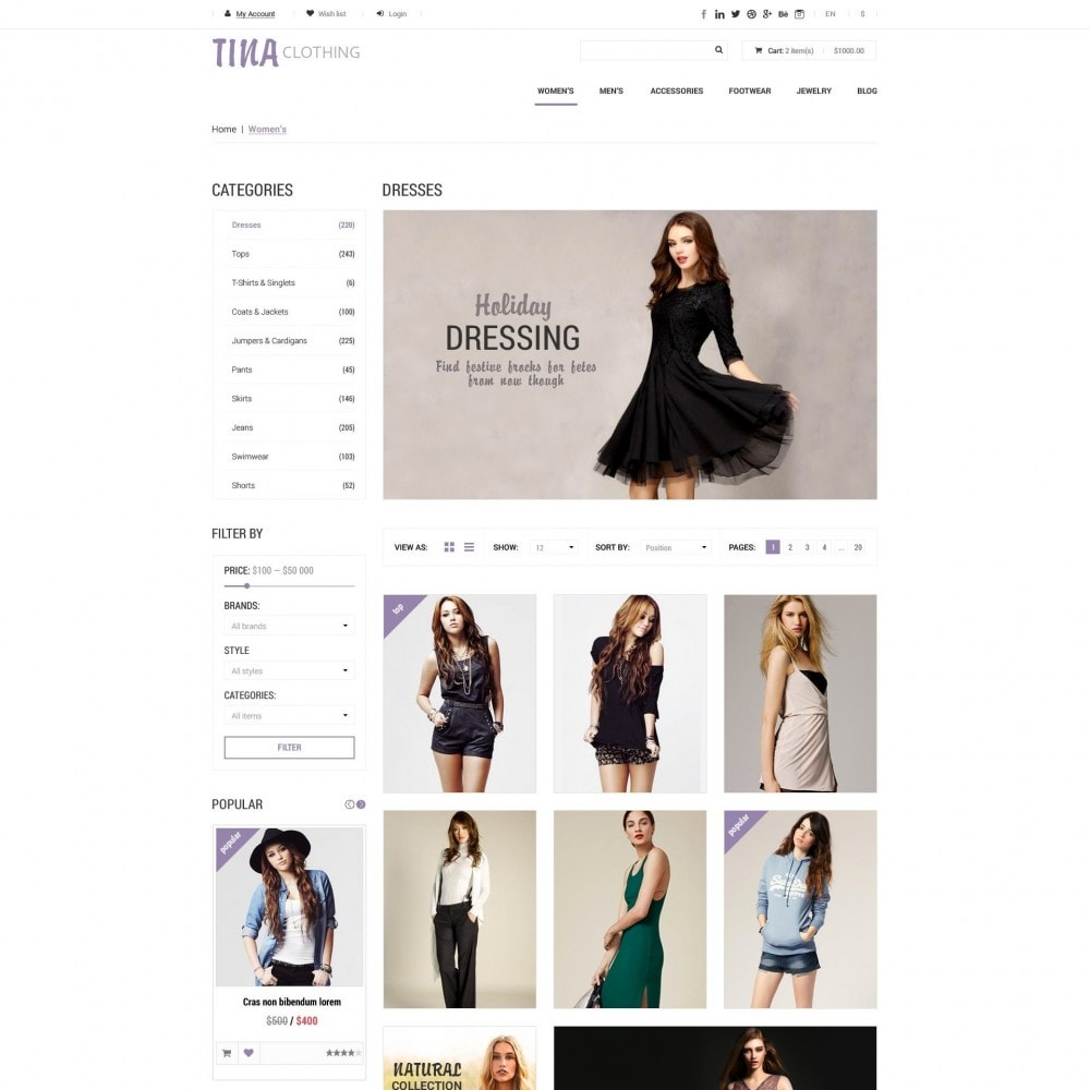 theme - Mode & Chaussures - Tina - Boutique de Vêtements - 3