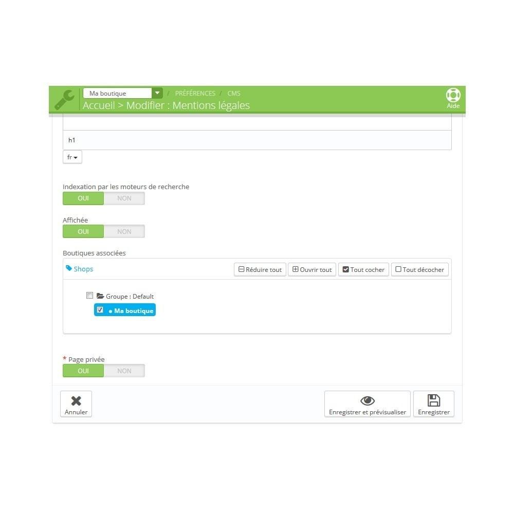 module - Personnalisation de Page - Pages CMS privées - 2