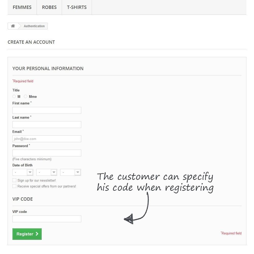 module - Empfehlungs- & Kundenbindungsprogramme - VIP codes management - 3