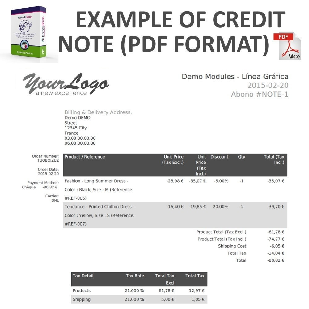 module - Contabilità & Fatturazione - Credit Notes / Memos of the Complete Invoice in PDF - 3
