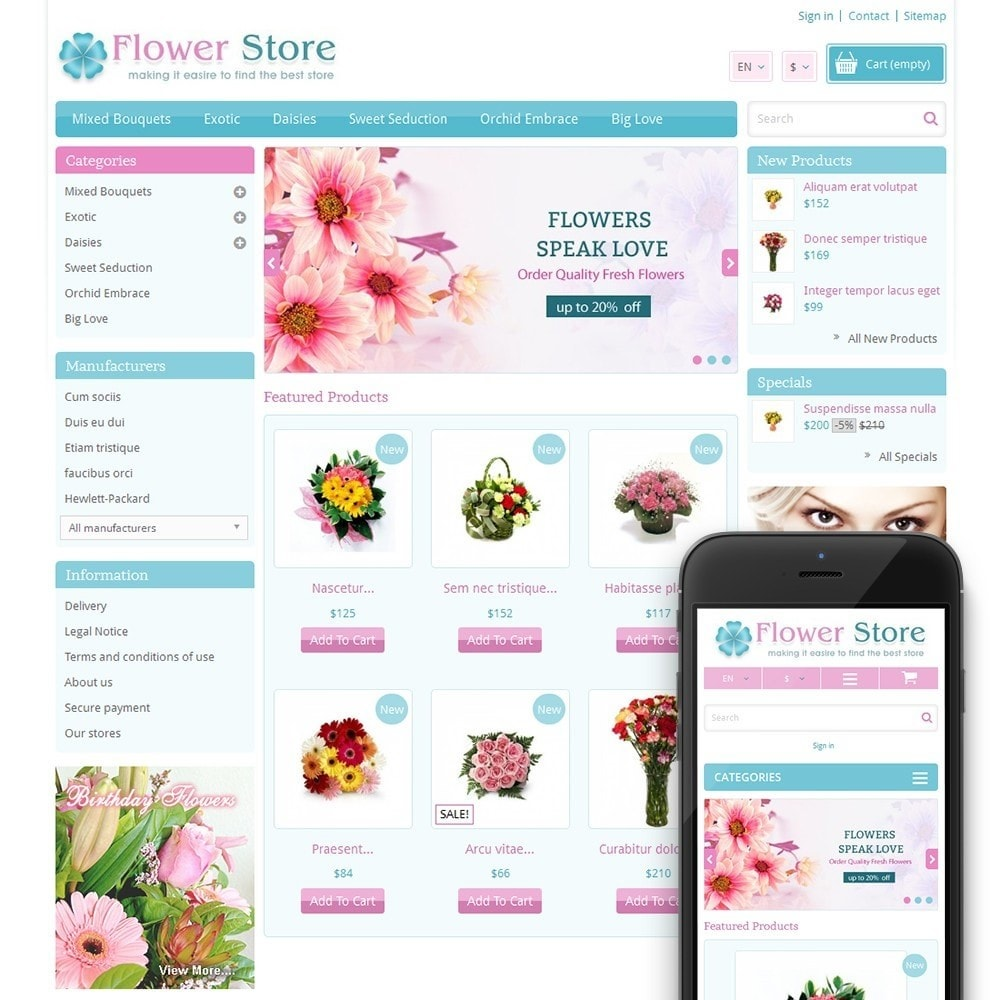 theme - Gifts, Flowers & Celebrations - Pinky - Flower Store - 1