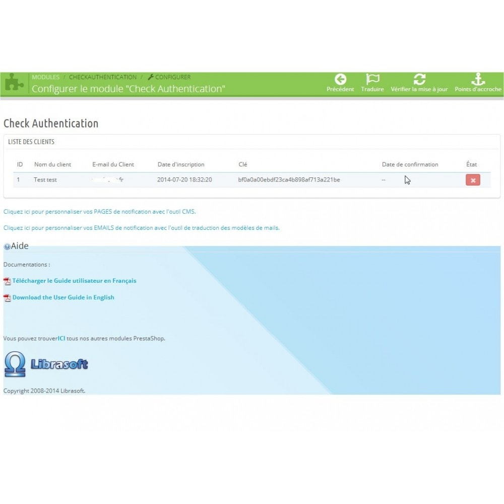 module - E-mails & Notifications - Check Authentification / Validation de mail - 1
