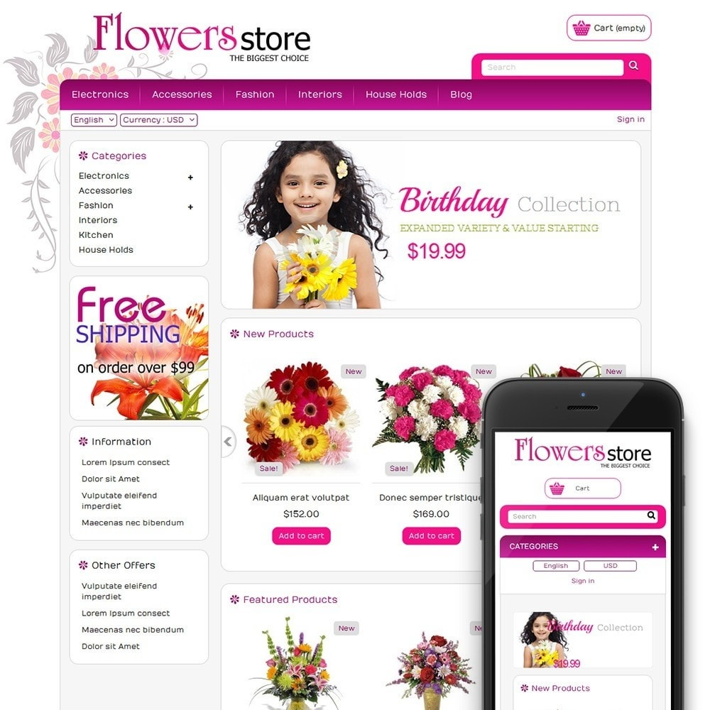 theme - Regalos, Flores y Celebraciones - Biggest Flower Store - 1