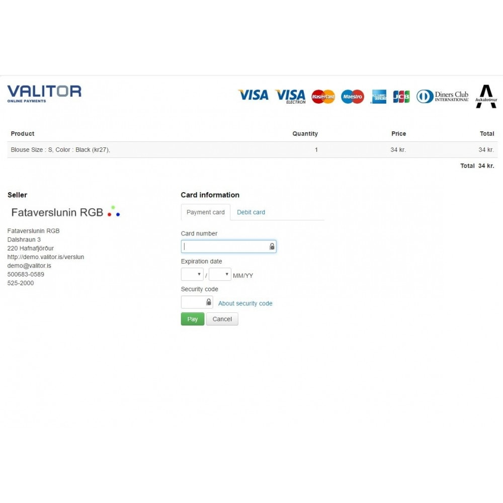 module - Creditcardbetaling of Walletbetaling - Valitor Web Payments - 3