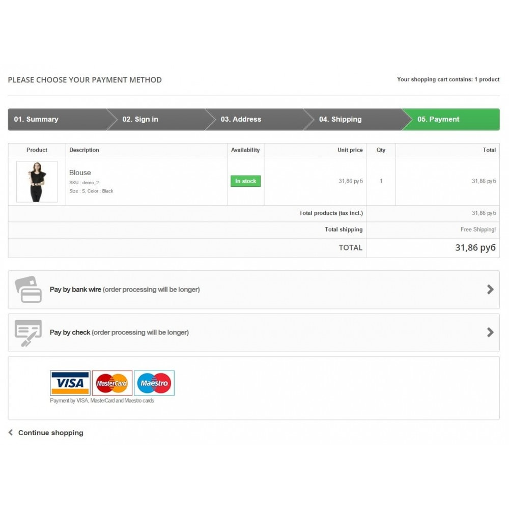 module - Payment by Card or Wallet - Sberbank Payment - 1