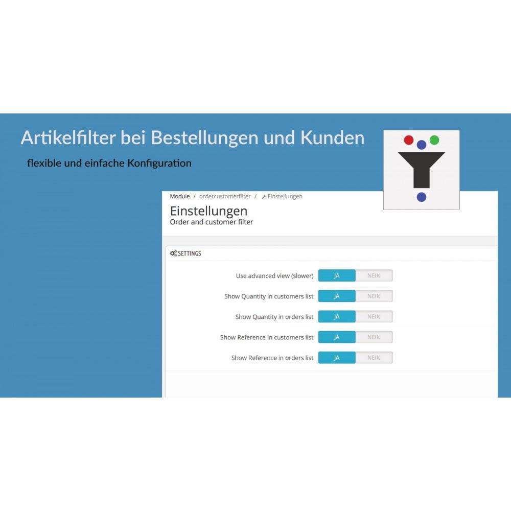 module - Auftragsabwicklung - Artikelfilter bei Bestellungen und Kunden - 2