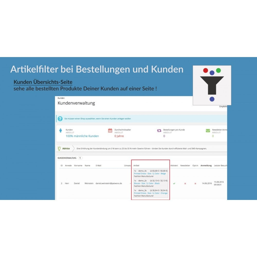 module - Auftragsabwicklung - Artikelfilter bei Bestellungen und Kunden - 3