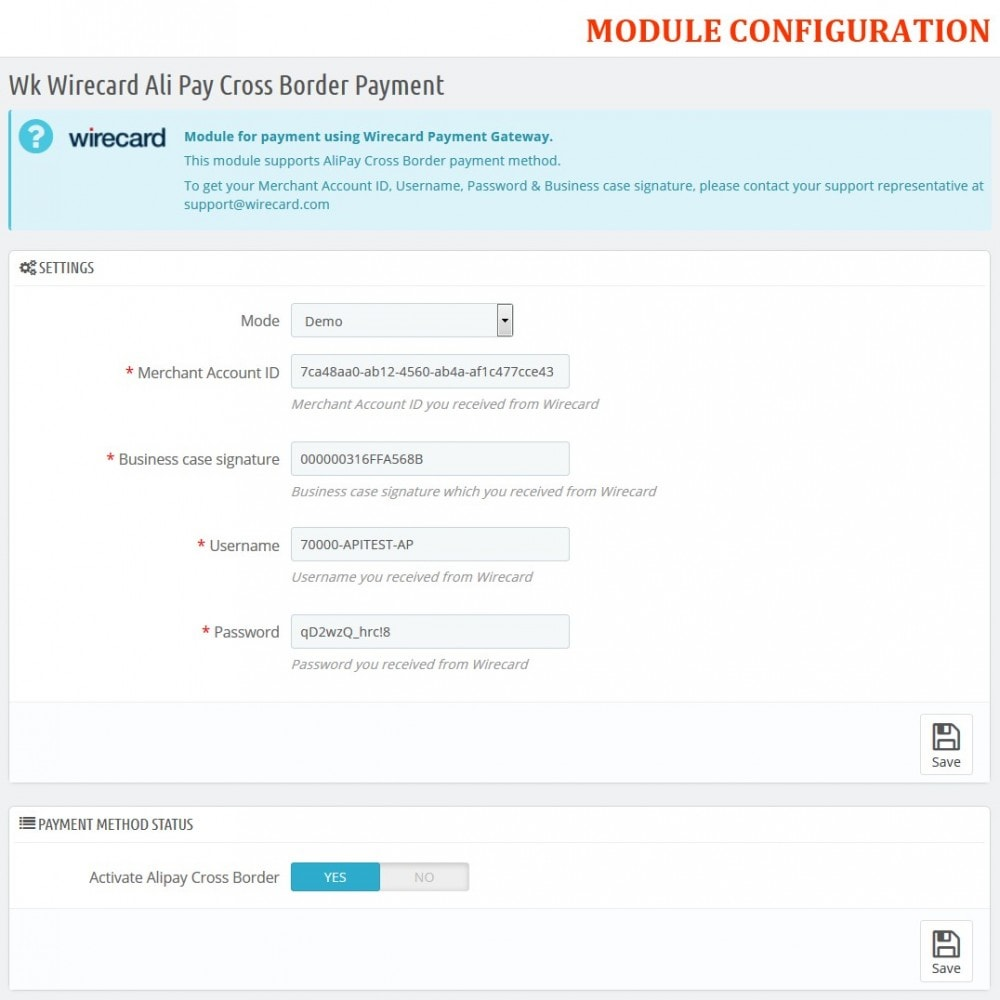 module - Pagamento con Carta di Credito o Wallet - Wirecard Ali Pay Cross Border Payment - 2