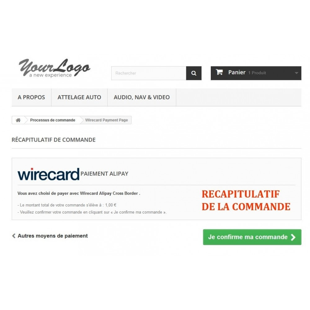 module - Paiement par Carte ou Wallet - Paiement Wirecard Ali Pay Cross Border - 4