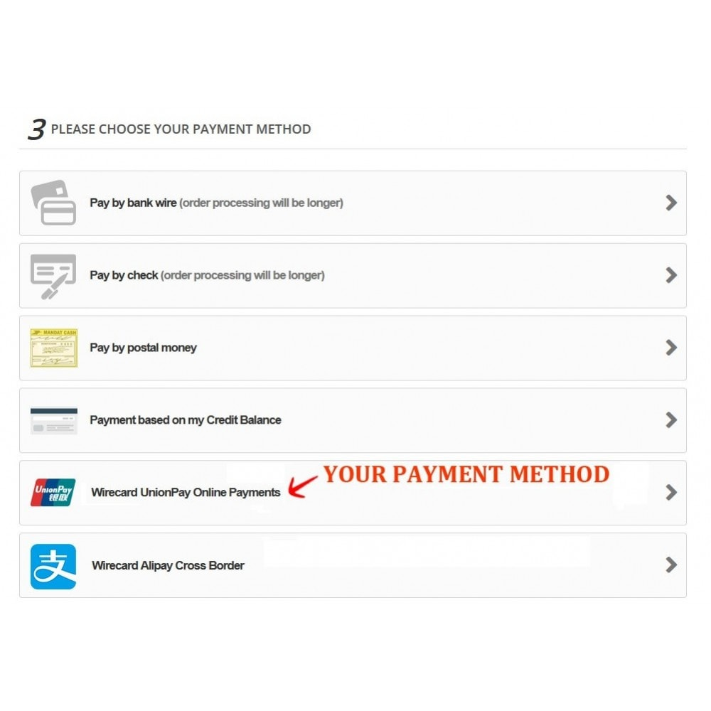 module - Andere Zahlungsmethoden - Wirecard UnionPay Online Payments - 3