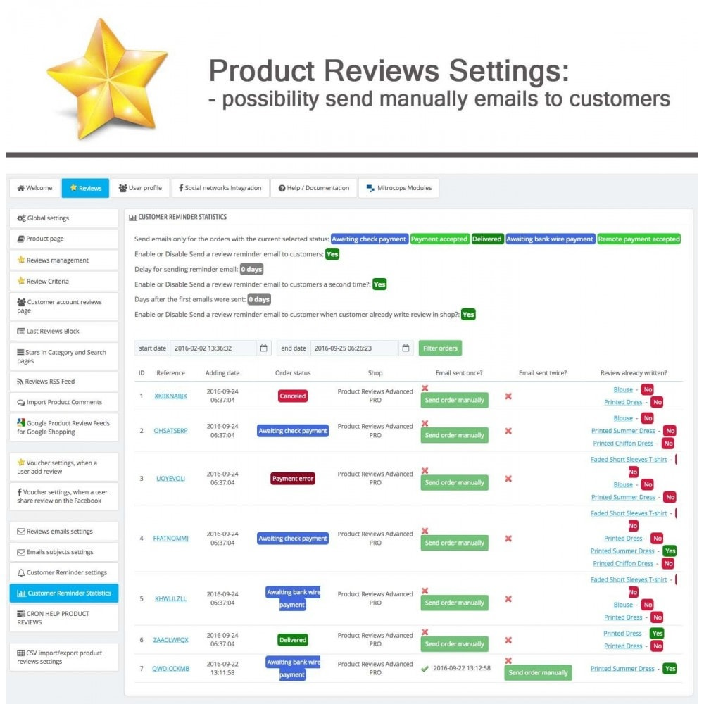 module - Opinie klientów - Product Reviews Advanced PRO + Reminder + User Profile - 31
