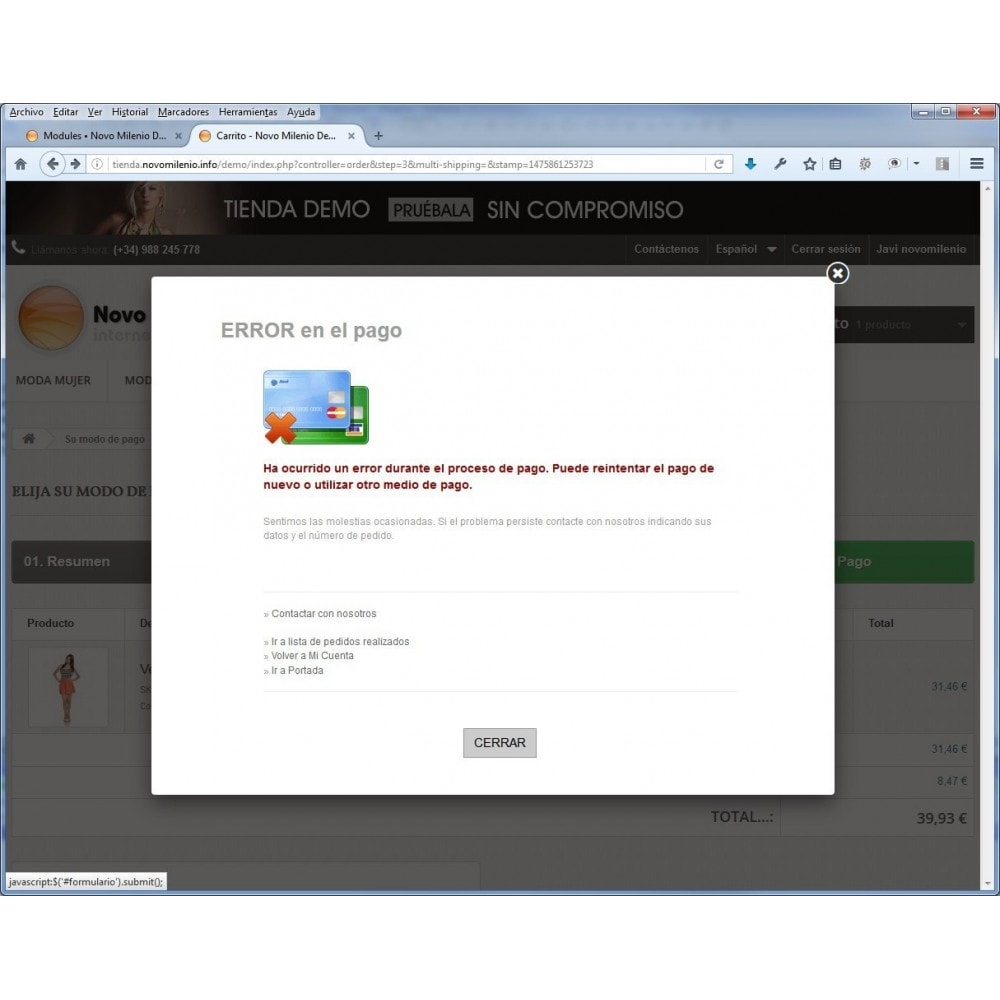 module - Pago con Tarjeta o Carteras digitales - CECA TPV PS16 Pago seguro con tarjeta de crédito SHA2 - 8