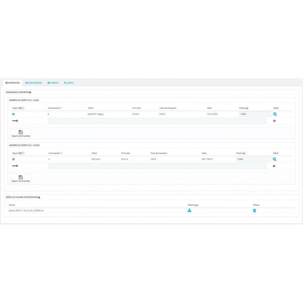 module - Préparation & Expédition - GLS - Export CSV pour édition d'étiquettes - 2