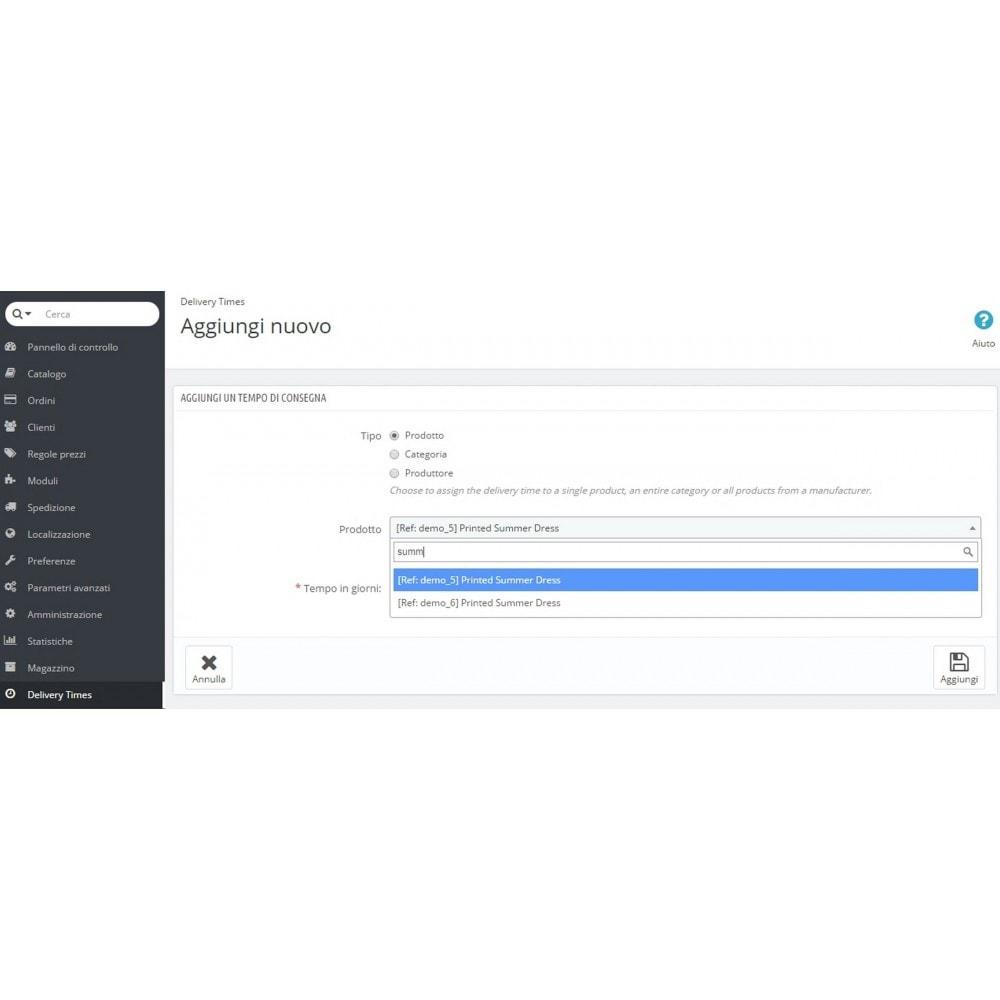 module - Data di Consegna - Tempi Spedizione per Categoria/Produttore/Fornitore - 5
