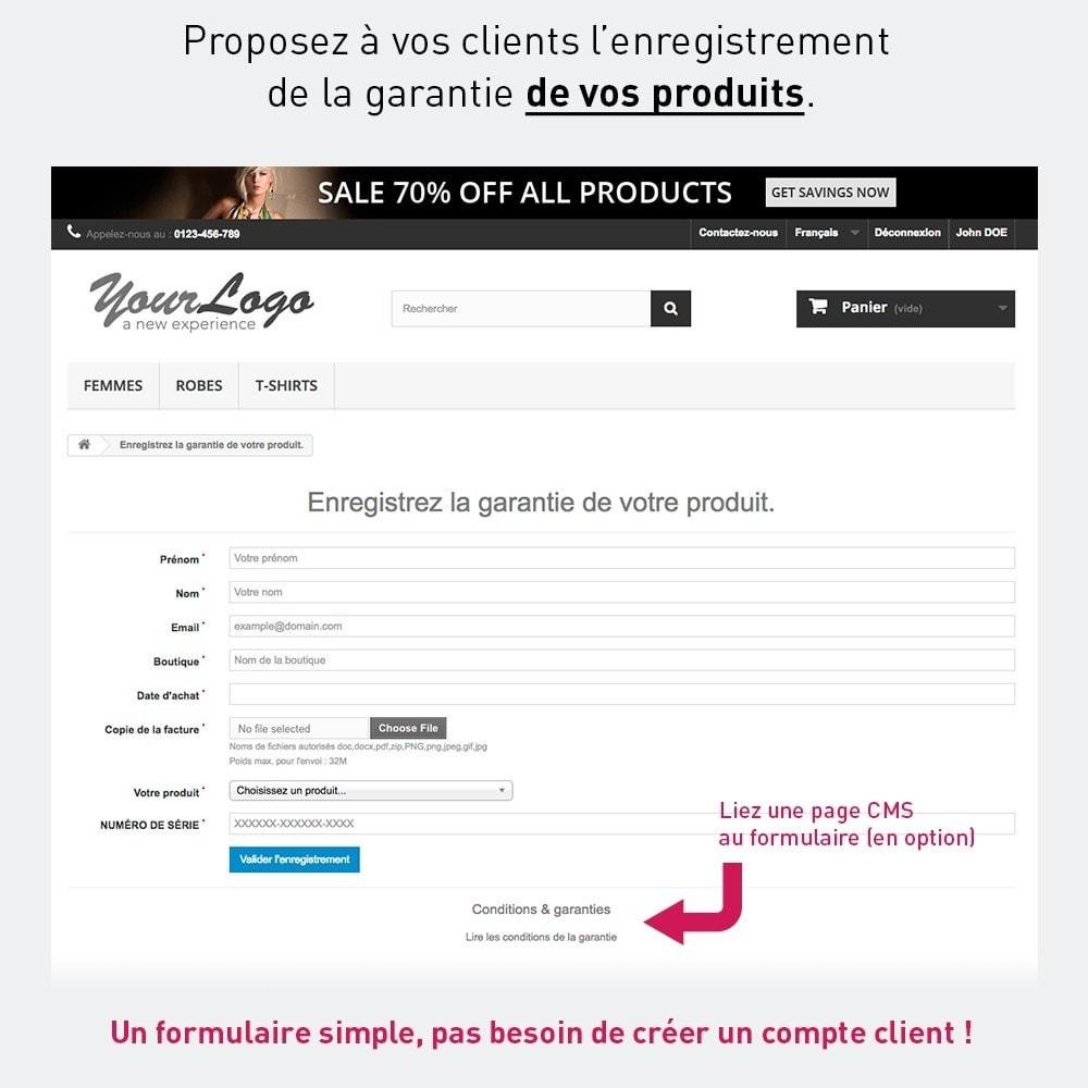 module - Inscription & Processus de commande - Enregistrement de garantie produit par le client - 1