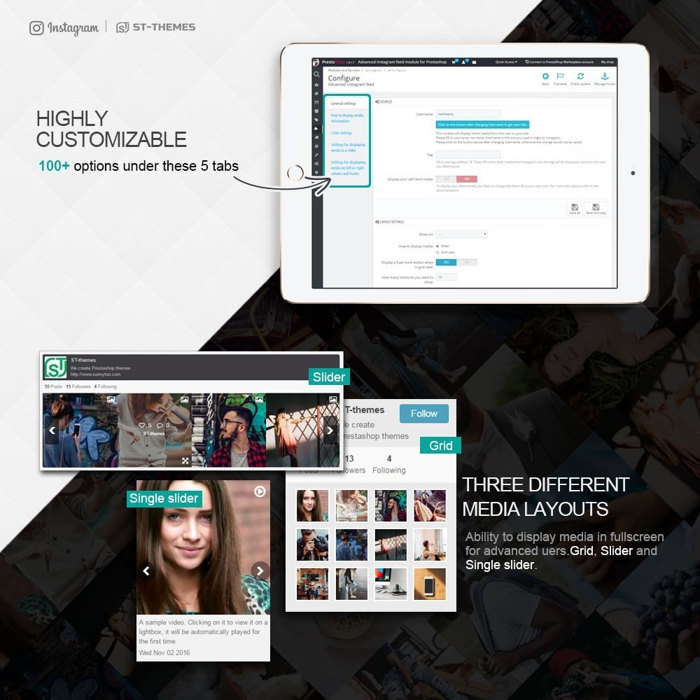 module - Widgets de Redes Sociais - Advanced social feed - 4