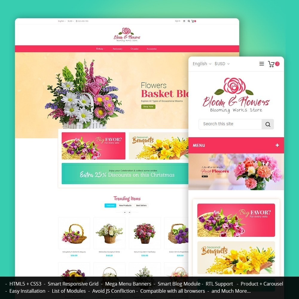 theme - Шаблоны PrestaShop - Bloom Flower Store - 1