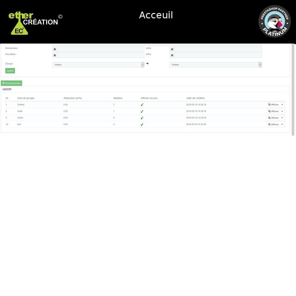 module - Fidélisation & Parrainage - Edition en masse des groupes clients et export - 3
