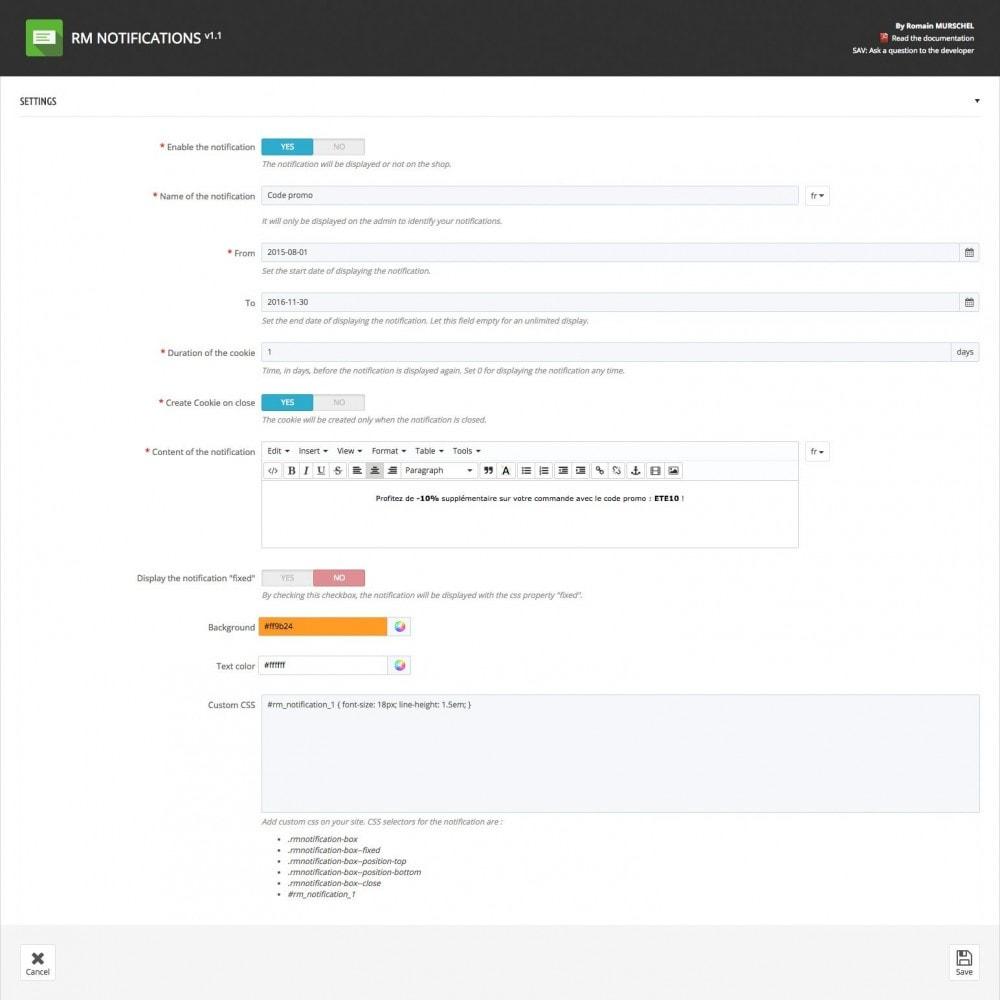 module - Блоки, вкладки и Баннеры - RM Notifications - 4