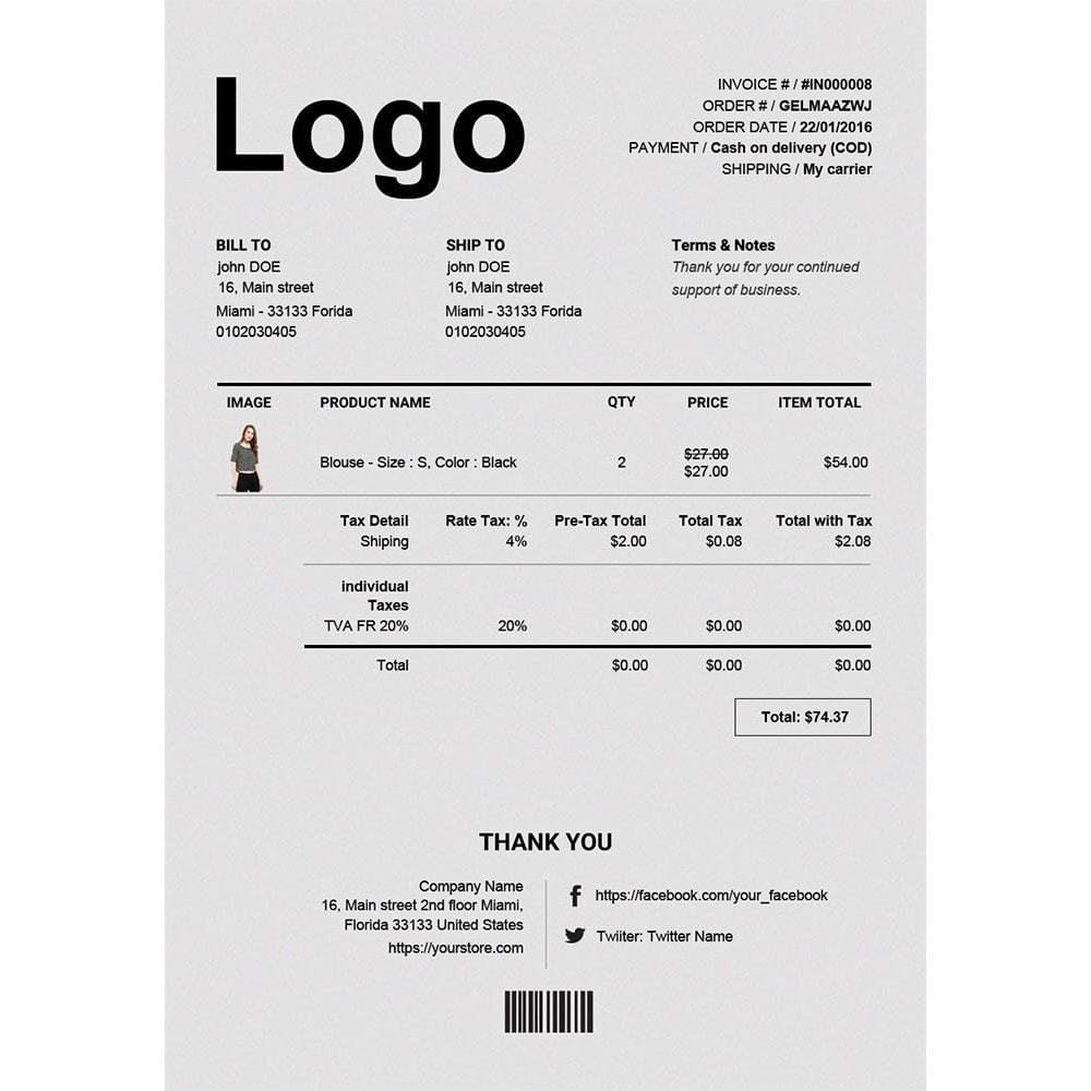 module - Buchhaltung & Rechnung - Rechnung, Lieferung, Gutschrift PDF + Kundenummer - 1