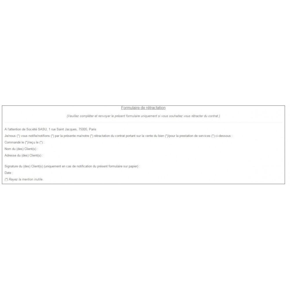 module - Législation - Conditions Générales de Vente, Mentions et Charte CNIL - 7
